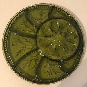 Vintage green Indiana glass appetizer serving tray